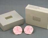 Vintage AVON 'Pearlized' Pink Enamel and Goldtone Pierced Earrings (1985) w original box. Pink Enamel Earrings.  Vintage Avon Earrings.