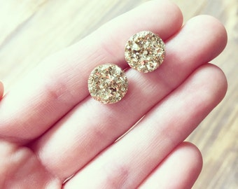 Gold Druzy Earring - 12mm Chunky Gold Druzy -Titanium Studs- Sensitive Ears