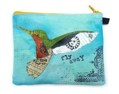 Butterfly Collage Art Hand Painted Coin Purse, Hummingbird Collage Art Zipper Pouch, Unique Gift, Hand Painted Wallet FLY AWAY smhum1