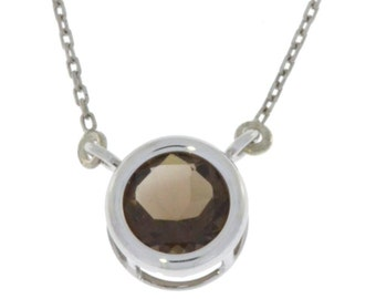 Natural Smoky Quartz Round Bezel Pendant .925 Sterling Silver