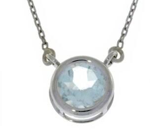 Aquamarine Round Bezel Pendant .925 Sterling Silver
