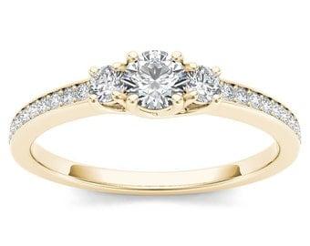 14Kt Yellow Gold 0.50 Ct Diamond Engagement Ring