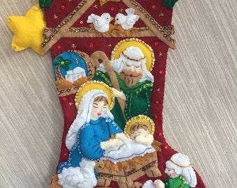 Nativity Completed Handmade Felt Christmas Stocking from Bucilla Kit