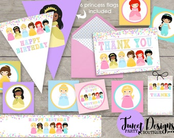 PRINCESS PARTY Printable, Princess Printable, Princess Party, Princess Cupcake Toppers, Princess Banner, Princess Thank you, Printable