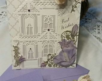 Handmade greeting card. Matching envelope. Best wishes.