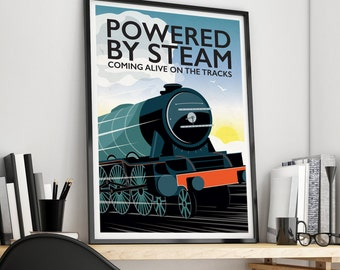 Powered by Steam Train Giclee Print