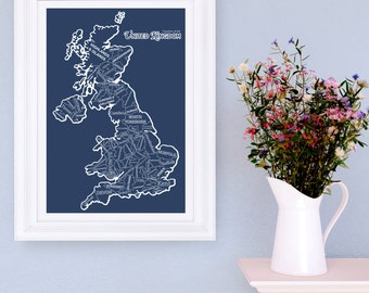 Counties of the UK Giclee Print