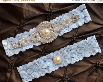 SALE Wedding Garter, Bridal Garter Set - Blue Lace Garter, Keepsake Garter, Toss Garter, Crystal Applique, Something Blue Garter