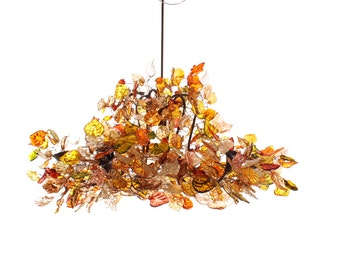 Hanging chandeliers with Champagne leaves and flowers for living room or dinning table lighting.