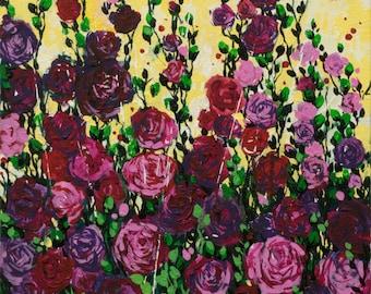 "Magenta Roses Flowers, Acrylic painting on canvas 15.7"" x 19.7"" Сontemporary, modern art, wall decor, Fine art by Valiulina"
