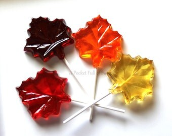 7 Fall Wedding Favors, Fall Wedding Decor, LARGE Maple Leaf, FALL LEAVES, Fall Bridal Shower, Barley Pops, Wedding Favors, Lollipop Favors