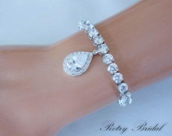 Crystal Bridal Bracelet, Bridal tennis bracelet crystal, Crystal Wedding Bracelet, Bridesmaid Bracelet, Bridal Accessories