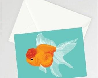 Oranda Fancy Goldfish A6 Greetings card (design 2)