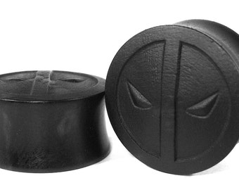 Deadpool Pattern Handmade Ear Plugs/Gauges/Stretchers/Custom Ear Plugs size10mm-40mm