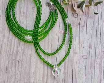 Spring Beaded green necklace, OOAK long necklace, Double strand long unique necklace, Flower long necklace, Green jewelry