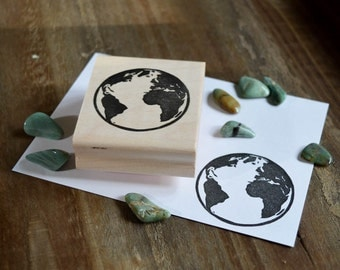 Planet Earth Rubber Stamp, Hand Carved Stamp, Planet Earth Stamp, Planet Stamp, Astronomy Stamp, Space Stamp, Earth Travel Journal Stamp 010