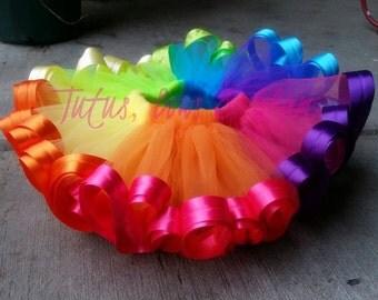 Rainbow Ribbon Trimmed Tutu