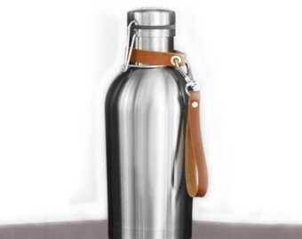 Insulated Stainless Steel Growler with Clip on Leather Strap Handle- SS Growler®, great for craft brew, wine, coffee, beer, gift...
