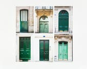Paris Postcard Set - Green Doors, set of 6 - 4x6 Paris photo prints
