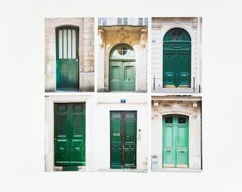 Paris Postcard Set - Green Doors, set of 6 - 4x6 Paris photo prints - Paris door photography - French Postcards