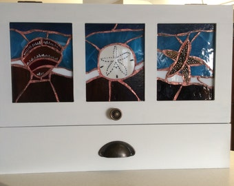 Wood Cabinet with 3 Stained Glass Panels