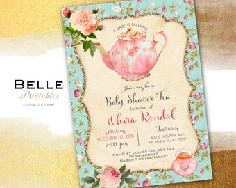 Baby Shower Invitation - Tea Party Vintage Chic for Girl and Gold Glitter and Roses - DIY Printable - Pink and Mint