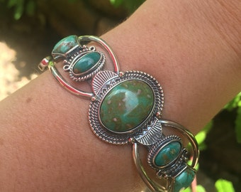 So Pretty Sterling Silver and Green Turquoise Cuff Bracelet