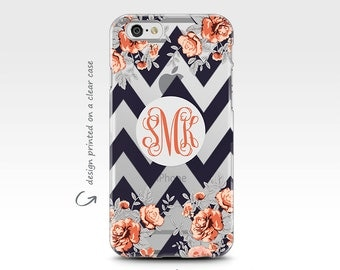 iPhone 7 Case, iPhone 6 Case, iPhone 8 Case, Monogram, iPhone 6 Case, Galaxy S7 Case, iPhone X Case, Galaxy S8 Case, Floral Chevrons