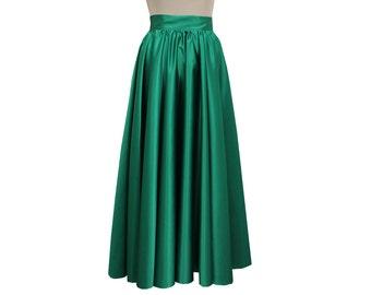 Green formal maxi skirt Prom duchess long full circle skirt XS S M L