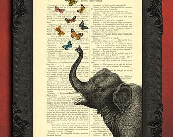 Elephant butterflies art print, butterflies decor, dictionary print poster, dorm decor, elephant wall art, gift poster number 3