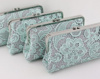 Mint Green Lace Bridesmaid Clutches / Green Lace Wedding Clutches / Custom Wedding Gift - Set of 4