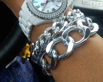 Curb Chain Bracelet - Celebrity bracelet - Chunky Chain Link Bracelet - Chain bracelet