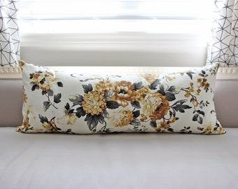 Both Sides Designer Yellow Grey Charcoal Moody Flower Floral Cotton Body Lumbar Pillow 14x36