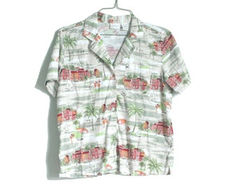 Vintage Hawaiian Blouse | Erika Hawaiian Shirt | Tan, Red and Green Blouse