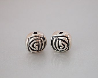 2 pcs, Sterling Silver Cushion Square Bead, Antique Sterling Silver Square Bead, Spiral Pattern, Thai Style Bead, Jewelry Supplies