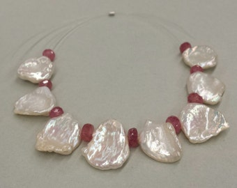 1 Set, Freshwater Keishi Pearls, Corn Flake Pearls, Pink Sapphires, Pearl and Pink Sapphire Strand, DIY Supplies, Handmade Jewelry