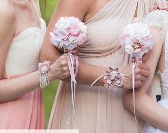 R490 Wrist corsage bridal accessory - fabric flower and pearl pearl bridal bracelet - bridesmaid gift wedding cuff - pink