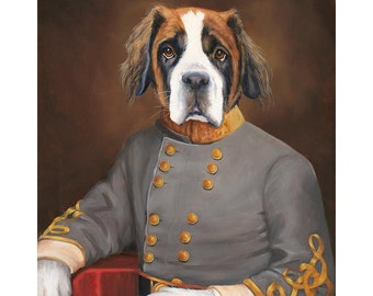 St Bernard Dog Prints, Sebastian, Dogs in Uniform, Whimsical Dog in Clothes