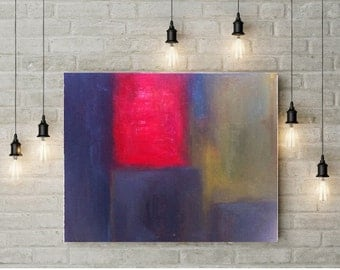"""Large Abstract painting, original oil canvas art, Modern living room art, Contemporary Red and Blue wall art, 24""""X28"""" ready to hang"""