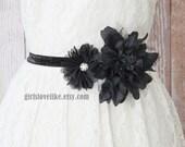 Black Flowers Belt, Black Flower Elastic Belt, Black Flower Sash Belt, Bridal Belt, Bridesmaid Belt,Custom Made Elastic Belt