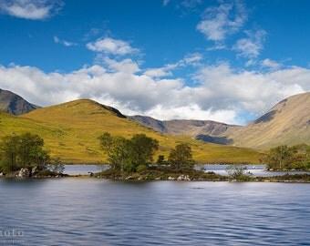 Scotland Landscape Print, Scottish Scenery, Rannoch Moor, Glencoe, Highlands, Clouds, Lake - 8x10, 8x12, 16x20 or 16x24 Photographic Print