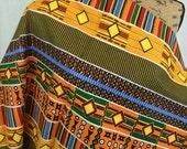 African Kente Print Fabric--Orange/Green/Yellow/Red/Blue KENTE Print--African Graphic Print--Made in Mali--African Fabric by the HALF YARD