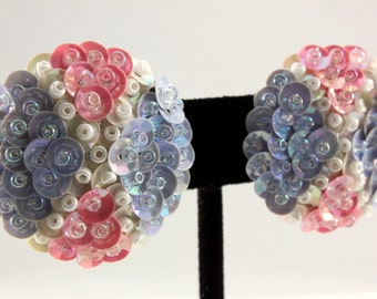 80s Light Blue and Pink Sequin and Bead Round Clip Earrings (vintage retro 70s pastel spring easter white iridescent)