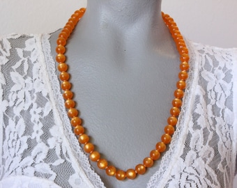 Vintage Japan Orange Moonglow Lucite Bead Necklace (retro 50s 60s bright colorful summer single strand plastic round)