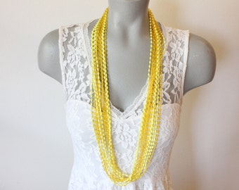 Vintage Bright Yellow 12 Strand Small Plastic Bead Necklace (retro 60s 70s long colorful chunky statement summer spring)