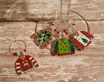 Ugly Christmas Sweater Wine Charms - Set of 4 - WC-007