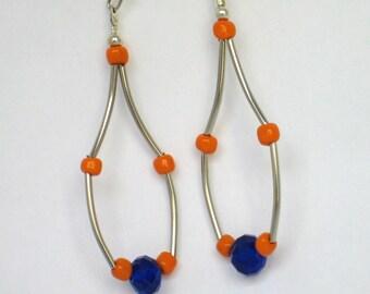 Cobalt Earrings,  Blue Earrings, Orange Earrings, UF Earrings, Gator Earrings, Chandelier Earrings, , Silver Earrings, Mothers Day