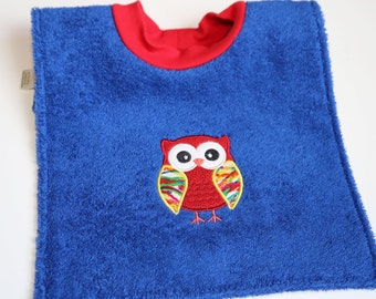 Waterproof Towel Bib - Bright Blue with Red Owl - Over the Head Bib with PUL on back