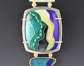 Opal Cloisonne Pendant Sterling Silver Blue Enamel 'Aqua Breakers'