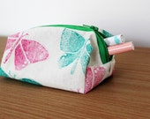 Small pink and green butterfly pouch